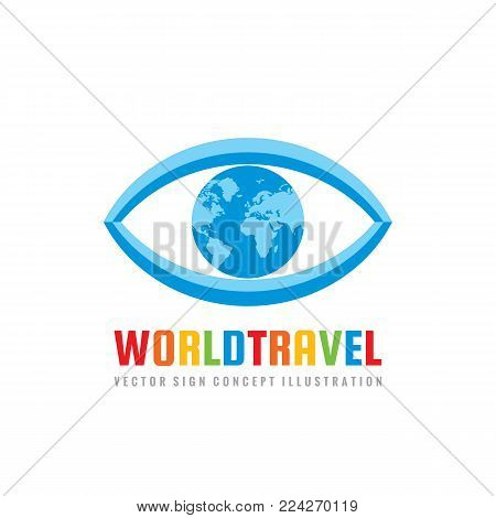 World travel - concept logo template vector illustration. Abstract eye with globe creative sign. Earth planet symbol. Graphic design element.