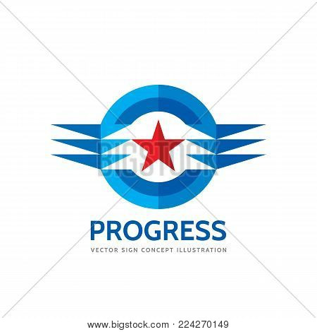 Progress - abstract business vector logo template. Design elements with star sign. Development symbol. Aviation concept illustration.