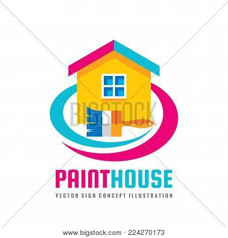 Paint house - concept logo template vector illustration in flat style. Paintbrush and cottage sign abstract creative symbol. Real estate icon. Graphic design element.
