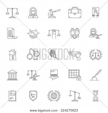 Law and Lawyer Signs Black Thin Line Icon Set Include of Gun, Courthouse, Gavel, Scale, Briefcase, Handcuff, Handshake and Fingerprint. Vector illustration