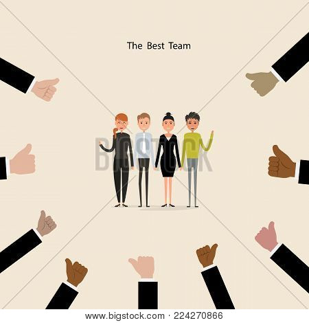 Proud Business people & hands icons on background.Successful business people with many thumbs up.Cartoon character.Acknowledgement & Business compliment concept.Success & Achievement concept.Vector illustration