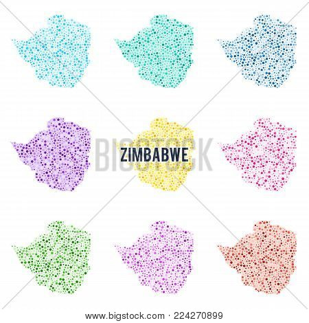 Vector dotted colourful map of Zimbabwe. Set of different color solutions
