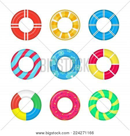 Realistic Detailed 3d Life Buoy Swimming Rings Set Different Types Symbol of Protection. Vector illustration of Lifebuoy Ring