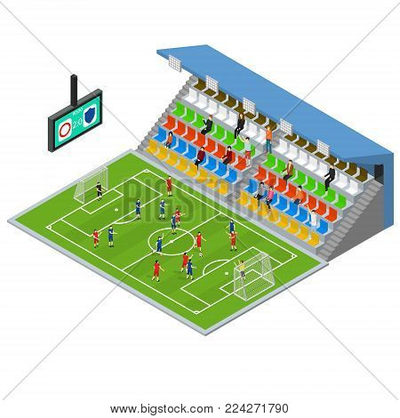 Soccer Stadium Competition Isometric View Sport Game Concept Symbol of Football Element Map for Web Design. Vector illustration