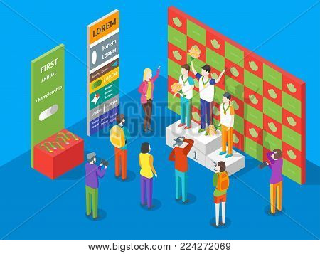 Winner Concept Isometric View Champion on Pedestal Competition Game Sport Concept on a Blue Background. Vector illustration