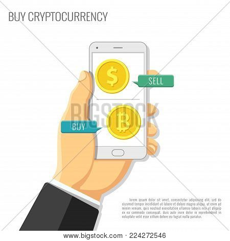 Vector illustration. Crypto currency information. Background for advertising electronic money. New technologies. Currency exchange in a flat style.