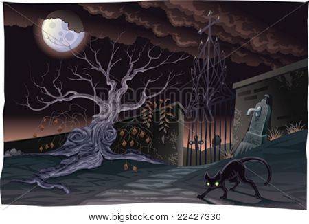 Black cat and cemetery in the night. Horror Scene, vector isolated characters.