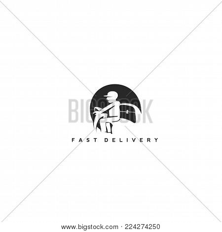 minimal delivery man logo in black color on white background with typography vector illustration.