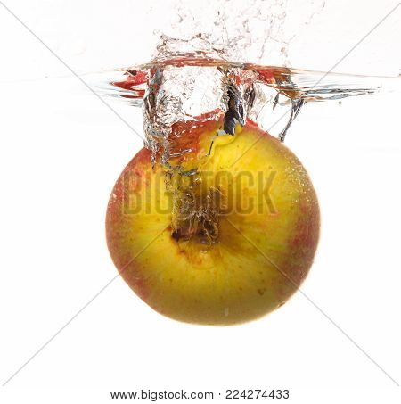 Yellow red apple in the water splash isoated on white background. Healthy organic food and active life. Square format