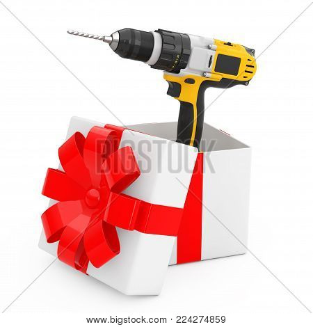 Yellow Rechargeable and Cordless Drill Come Out of the Gift Box with Red Ribbon on a white background. 3d Rendering