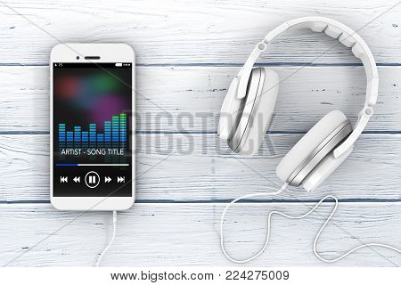 Headphones near Mobile Phone with Music Playlist on a wooden table. 3d Rendering.