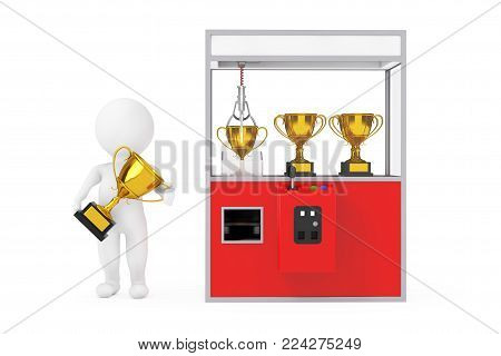 Winner Person with Golden Trophy Prize near Carnival Red Toy Claw Crane Arcade Machine with Golden Trophy on a white background. 3d Rendering