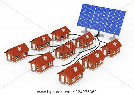 Green Energy Concept. Many Houses Connected to the Solar Panel on a white background. 3d Rendering.