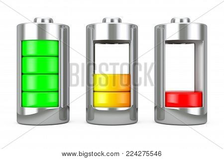 Abstract Charging Battery with Charge Levels on a white background. 3d Rendering