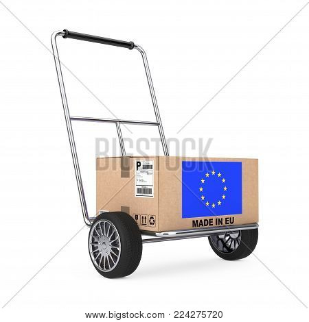 Cardboard Box with European Union Flag over Hand Truck on a white background. 3d Rendering