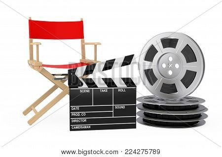 Cinema Industry Concept. Red Director Chair, Movie Clapper and Film Reels on a white background. 3d Rendering.