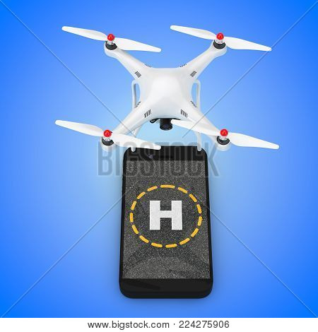 Multicopter Camera Drone Take-off from Mobile Phone Touchscreen with Helicopter Sign on a blue background. 3d Rendering