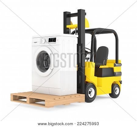 Forklift Truck moves Modern Washing Machine on a white background. 3d Rendering