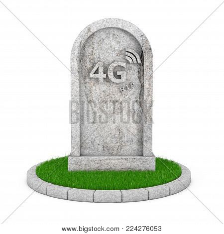 Gravestone with RIP 4G Cellular Technology Sign on a white background. 3d Rendering poster