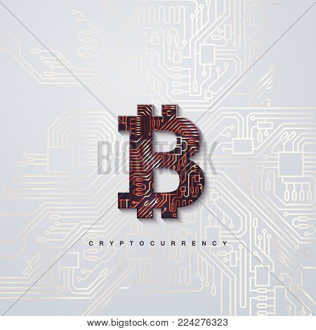 Cryptocurrency concept. Bronze textured bitcoin sign and circuit board background. Vector futuristic illustration with blockchain technology based crypto currency. Financial concept. Virtual money
