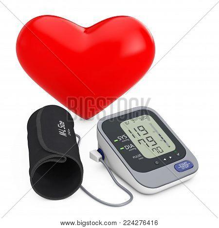 Red Heart near Modern Digital Blood Pressure Measurement Monitor Equipment on a white background. 3d Rendering