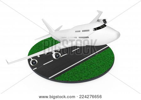 White Jet Passenger's Airplane Take-off from Abstract Runway on a white background. 3d Rendering.