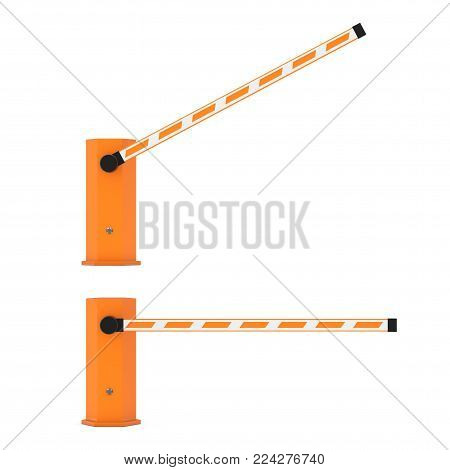 Road Car Barrier on a white background. 3d Rendering