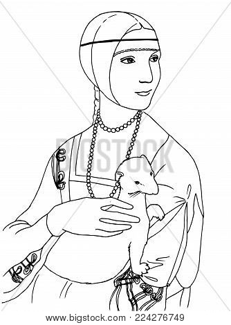 Vector illustration of of the lady with the ermine the Leonardo da Vinci famous painting