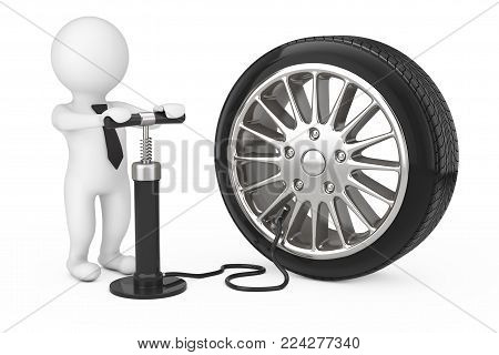 3d Person with Black Hand Air Pump Inflates Car Wheel on a white background. 3d Rendering.