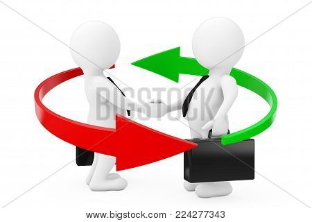 Red and Green Arrows Around 3d Businessman Characters Shaking Hands on a white background. 3d Rendering.