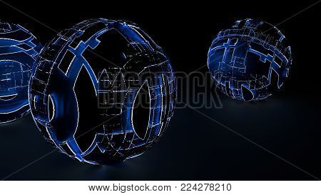 Abstract spheres of glowing circles and lines. Global Network connection concept. Science and technology background. Futuristic spheres. 3d illustration