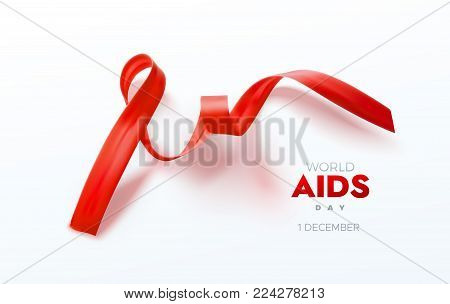 Aids Awareness Red Ribbon. World Aids Day concept. Vector Illustration. Medical and healthcare concept