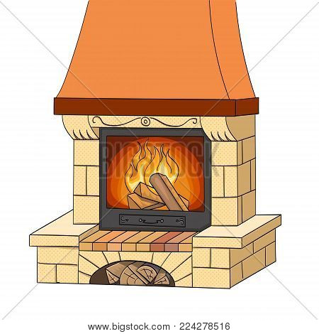 Object on white background vector illustration. A brick fireplace burns a tree. Works and heats. The background is red.