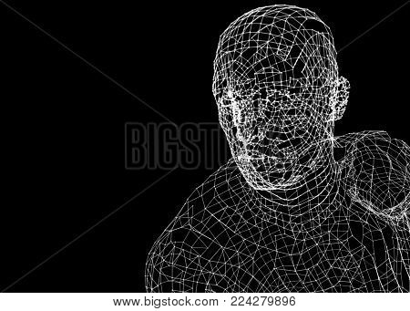 Mans Head. Dots and lines. Futuristic Concept. 3d illustration