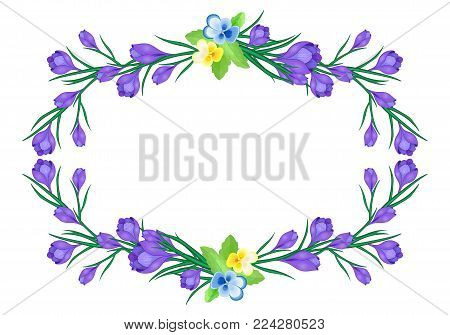 Vector illustration with crocus or saffron and hearts on a white background.bouquet of purple flowers.Can be used as greeting cards, wedding invitations, birthday, spring or summer holiday, celebration.