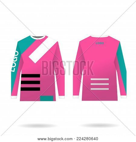 Female jersey design for extreme cycling. Mountain bike jersey. Vector illustration for sublimation printing.