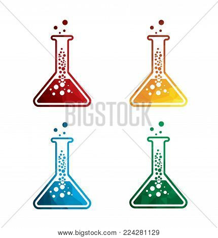colorful flask icons on white background. Laboratory equipment icons. eps8. on layers.