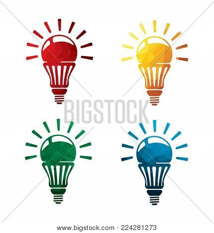 colorful bulb icons on white background. electric lamp icons. eps8. on layers.