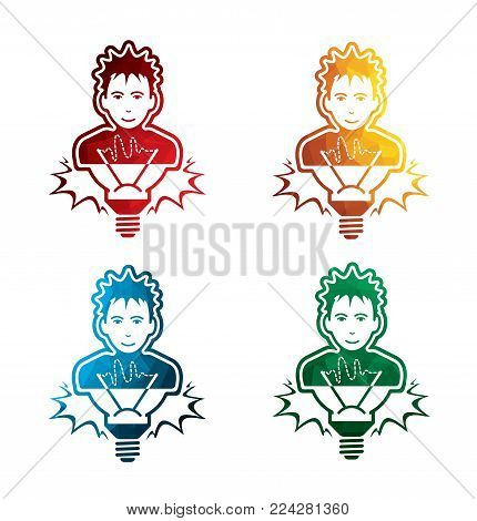 colorful idea icons on white background. isolated message icons. eps8. on layers.