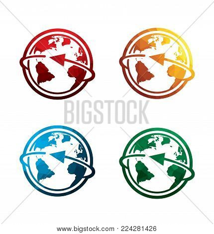 colorful world icons on white background. isolated earth icons. eps8. on layers.