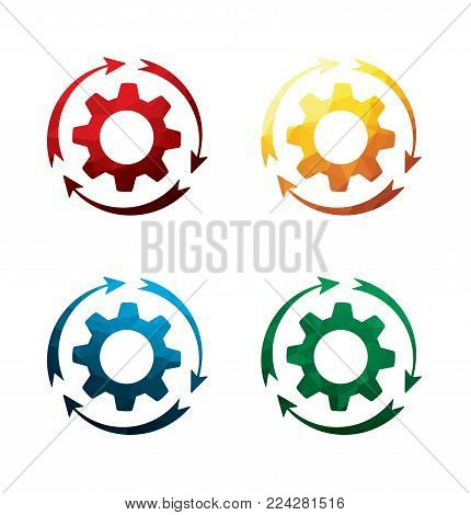 colorful rotating cogwheel icons on white background. isolated rotating gear icons. eps8. on layers.