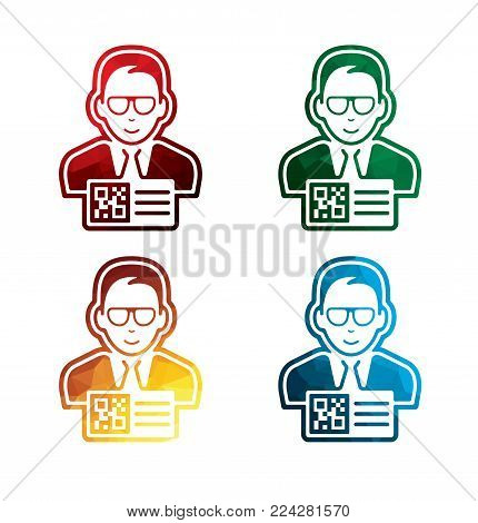 colored man with QR code pass icons on white background. isolated QR code pass icons. eps8. on layers.