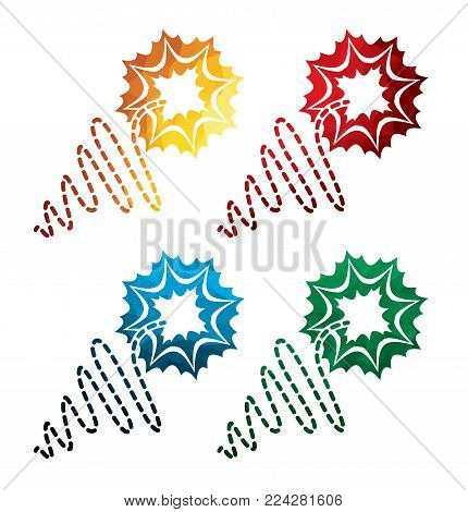colorful fuze icons on white background. isolated candlewick icons. eps8. on layers.