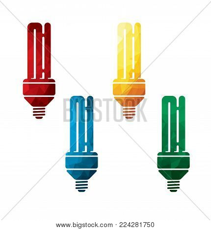 colorful energy saving light bulbs icons on white background. isolated economic lamp icons. eps8. on layers.