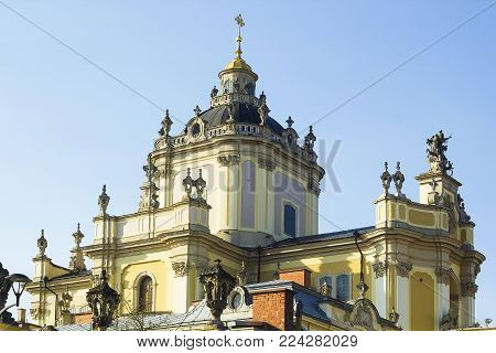 St. George's Cathedral against blue sky, Lvov, Ukraine
