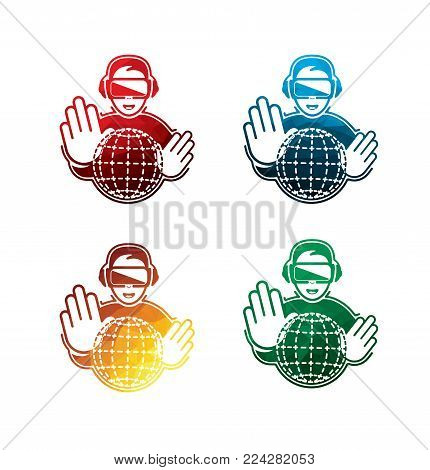 colorful virtual reality headset icons on white background. isolated VR headset icons. eps8. on layers.