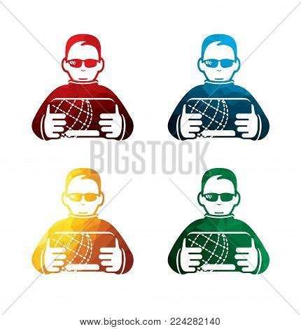 colorful hacker icons on white background. isolated spy icons. eps8. on layers.
