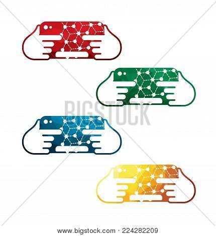 colorful tablet in hands icons on white background. isolated ipad in hands icons. eps8. on layers.
