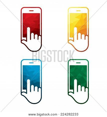 colorful smart phone in hand icons on white background. isolated mobile phone in hand icons. eps8. on layers.