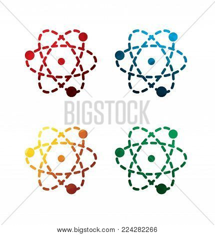 colorful atom icons on white background. isolated atom icons. eps8. on layers.